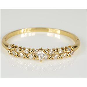 Bangle with metal clip color Yellow Gold Zircon diamond cut D60mm Chic Collection 78456