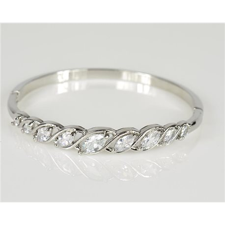 Bangle with metal clip color White Gold Zircon diamond cut D60mm Chic Collection 78458