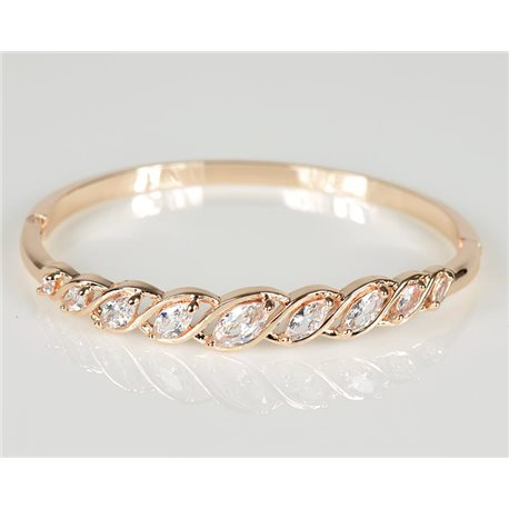 Bangle with metal clip in Rose Gold color Zircon diamond cut D60mm Chic Collection 78460