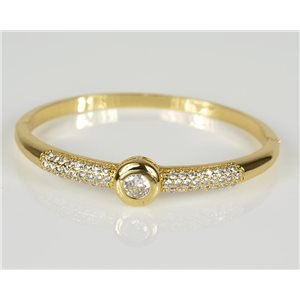 Bangle with metal clip color Yellow Gold Zircon diamond cut D60mm Chic Collection 78462