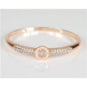 Bracelet Jonc à clip métal couleur Or Rose Zircon coupe diamant D60mm Collection Chic 78463