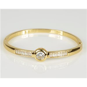 Bangle with metal clip color Yellow Gold Zircon diamond cut D60mm Chic Collection 78465