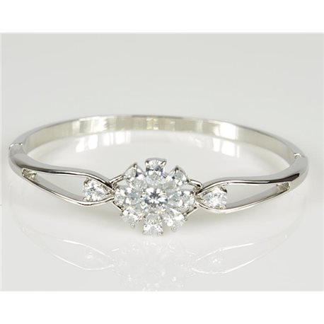 Bangle with metal clip color White Gold Zircon diamond cut D60mm Chic Collection 78470