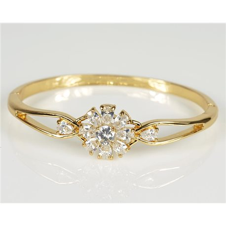 Bangle with metal clip color Yellow Gold Zircon diamond cut D60mm Chic Collection 78471