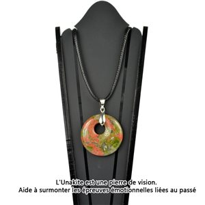 Donuts necklace Pendant 30mm Unakite stone on waxed cord 78334