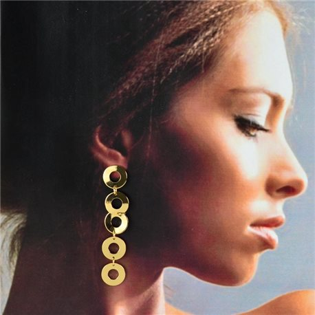 1p Gold Earrings with Hanging studs 7cm MILEVA Collection Chic Fashion 78222