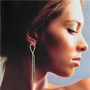 1p Silver Earrings with Hanging Studs 9cm MILEVA Fashion Chic Collection 78225