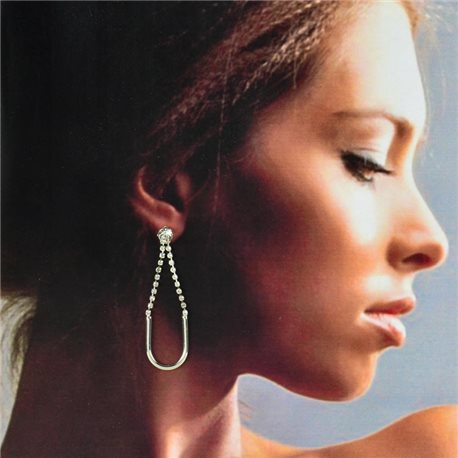 1p Silver Earrings with Hanging studs 6cm MILEVA Collection Chic Fashion 78227