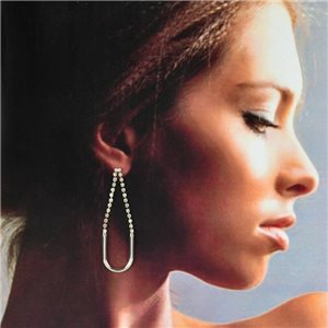 1p Silver Earrings with Hanging Studs 6cm MILEVA Collection Chic Fashion 78229