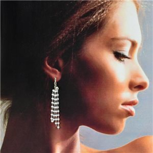 1p Silver Earrings with Hanging studs 6cm MILEVA Fashion Chic Collection 78233