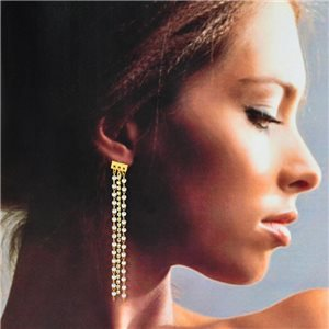 1p Gold Earrings with Dangling studs 8cm MILEVA Fashion Chic Collection 78236