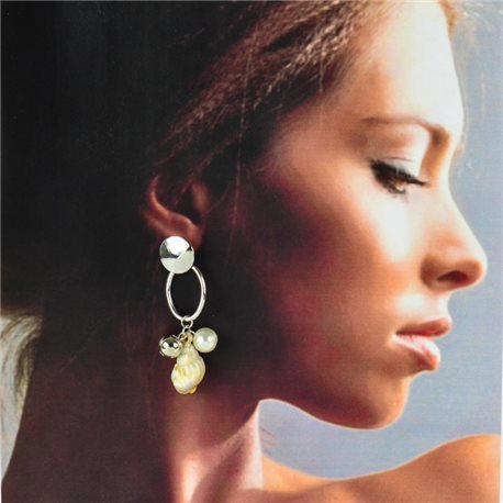1p Silver Earrings with Hanging studs 6cm MILEVA Collection Chic Fashion 78241