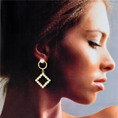 1p Gold Earrings with Hanging studs 4cm MILEVA Collection Chic Fashion 78244
