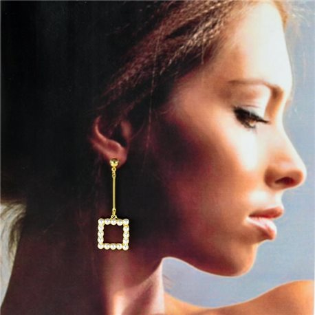 1p Gold Earrings with hanging studs 5cm MILEVA Collection Chic Fashion 78248