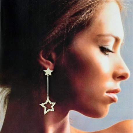 1p Silver Earrings with Hanging studs 6cm MILEVA Collection Chic Fashion 78249