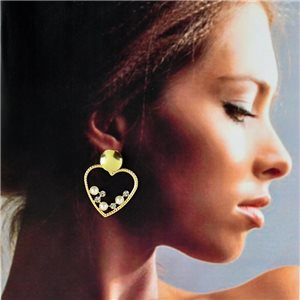1p Gold Earrings with hanging studs 4cm MILEVA Collection Chic Fashion 78252