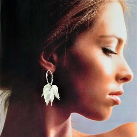 1p Silver Stud Earrings 5cm FLORA Fashion Chic Collection 78257