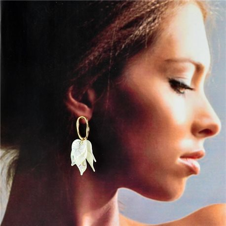 1p Gold Earrings with hanging studs 5cm FLORA Collection Chic Fashion 78258