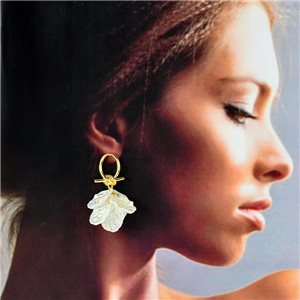 1p Earrings Golden with hanging studs 5cm FLORA Collection Chic Fashion 78256