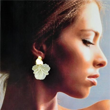 1p Gold Earrings with Drop Studs 5cm FLORA Collection Chic Fashion 78264
