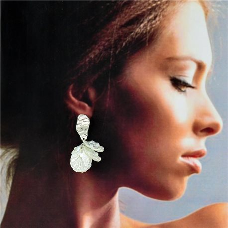 1p Silver Stud Earrings 5cm FLORA Fashion Chic Collection 78265