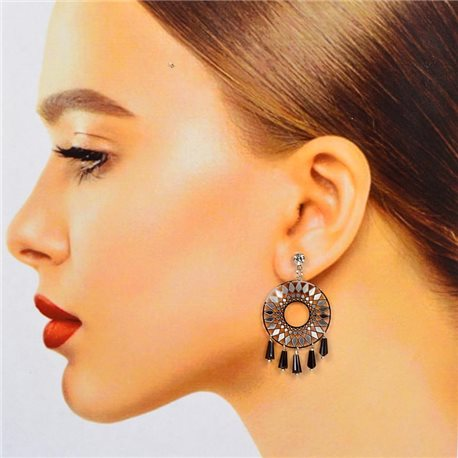 1p Filigree Stud Earrings with Cubic Zirconia and Tassels New Collection 78374