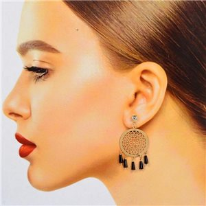 1p Filigree Stud Earrings with Cubic Zirconia and Tassels New Collection 78376