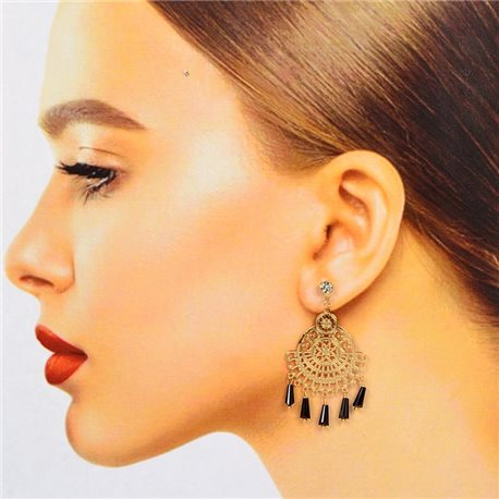 1p Filigree Stud Earrings with Cubic Zirconia and Tassels New Collection 78377