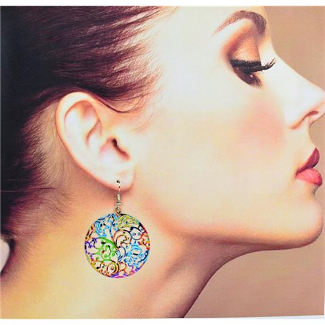 1p Earrings Filigree with silver hook New Ethnic Collection 78354