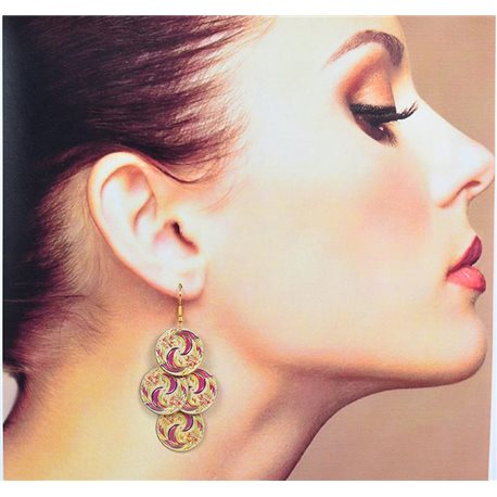 1p Filigree Earrings with golden hook New Ethnic Collection 78364