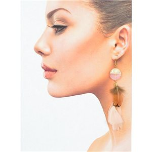 1p Drop earrings with hook 14cm gold metal New Collection Feathers 78397