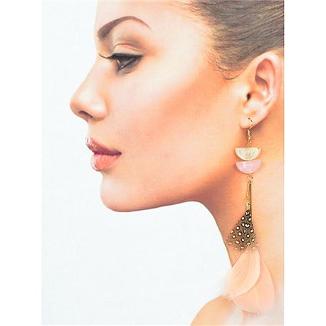 1p Drop earrings with hooks 14cm gold metal New Feathers Collection 78405