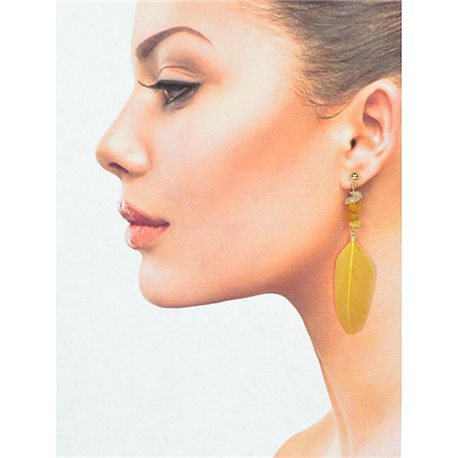 1p Drop Earrings with studs 9cm gold metal New Collection Feathers 78391