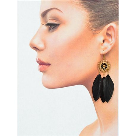 1p Drop earrings with hook 9cm gold metal New Feathers Collection 78409