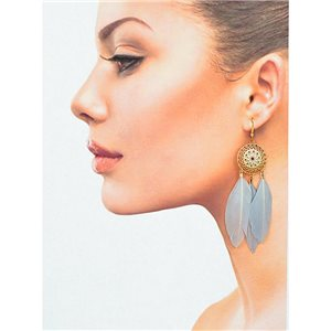 1p Drop earrings with hook 9cm gold metal New Collection Feathers 78411