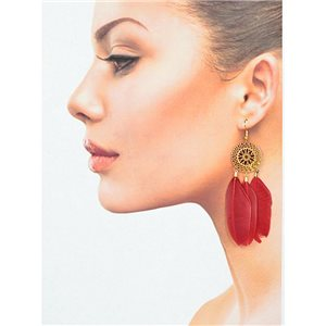 1p Drop earrings with hook 9cm gold metal New Feathers Collection 78412
