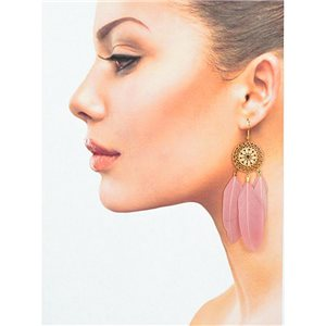 1p Drop earrings with hook 9cm gold metal New Feathers Collection 78414