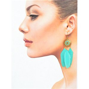 1p Drop earrings with hook 9cm gold metal New Collection Feathers 78415