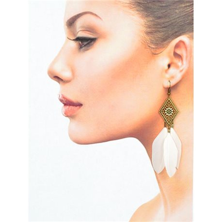 1p Earrings with hooks Hanging 10cm aged metal New Feathers Collection 78419