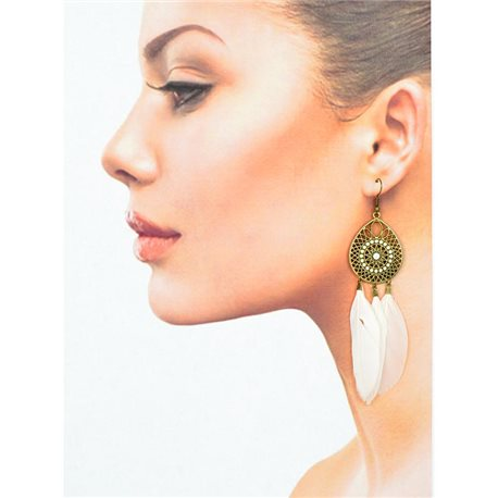 1p Drop earrings with hooks 11cm aged metal New Feathers Collection 78426