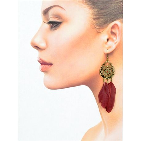 1p Drop earrings with hooks 11cm old metal New Feathers Collection 78427