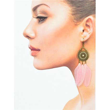 1p Drop earrings with hooks 11cm aged metal New Feathers Collection 78428