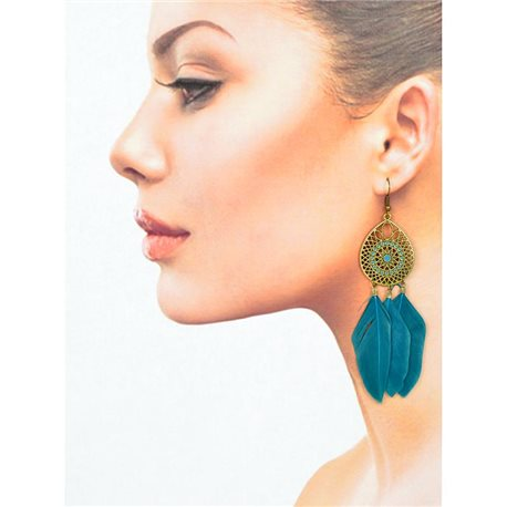 1p Drop earrings with hooks 11cm aged metal New Feathers Collection 78431