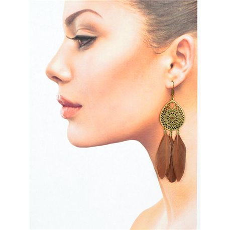 1p Drop earrings with hooks 11cm aged metal New Feathers Collection 78433