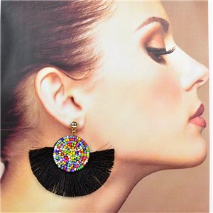 1p Stud Earrings Stainless Steel Seed Beads on Pompon 77719