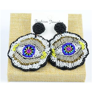 1p Stud Earrings Seed Beads Hand sewn 77729