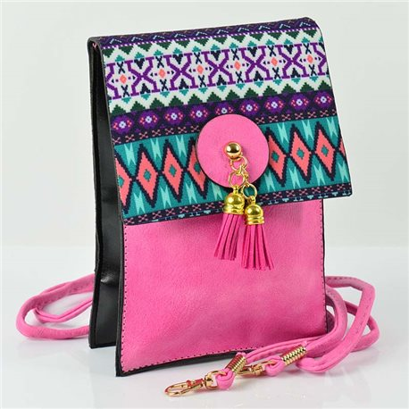 Women's leather-look pouch New Collection Ethnic Fabrics 12 * 17cm 78503