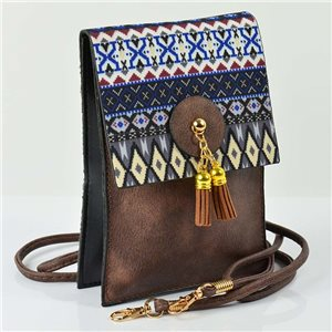 Women's leather-look pouch New Collection Ethnic Fabrics 12 * 17cm 78506