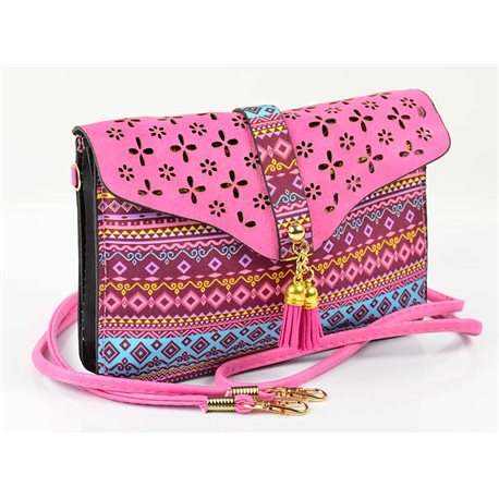 Women's leather-look pouch New Collection Ethnic Fabrics 18 * 14cm 78485