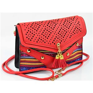 Women's leather-look pouch New Collection Ethnic Fabrics 18 * 14cm 78490